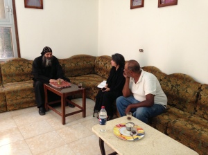 Drinking tea and sharing life with Coptic Monk, Rev. Smith, and Muhammed our driver.